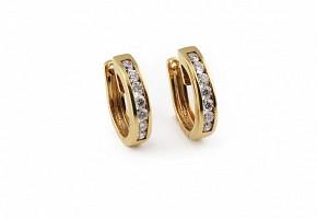 Pendientes de oro amarillo de 18kts y diamantes.