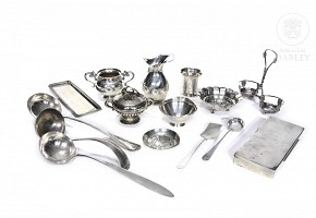 Lot of European silver punched objects, 20th century