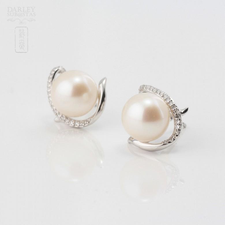 Pendientes en oro blanco, perla y diamantes - 1