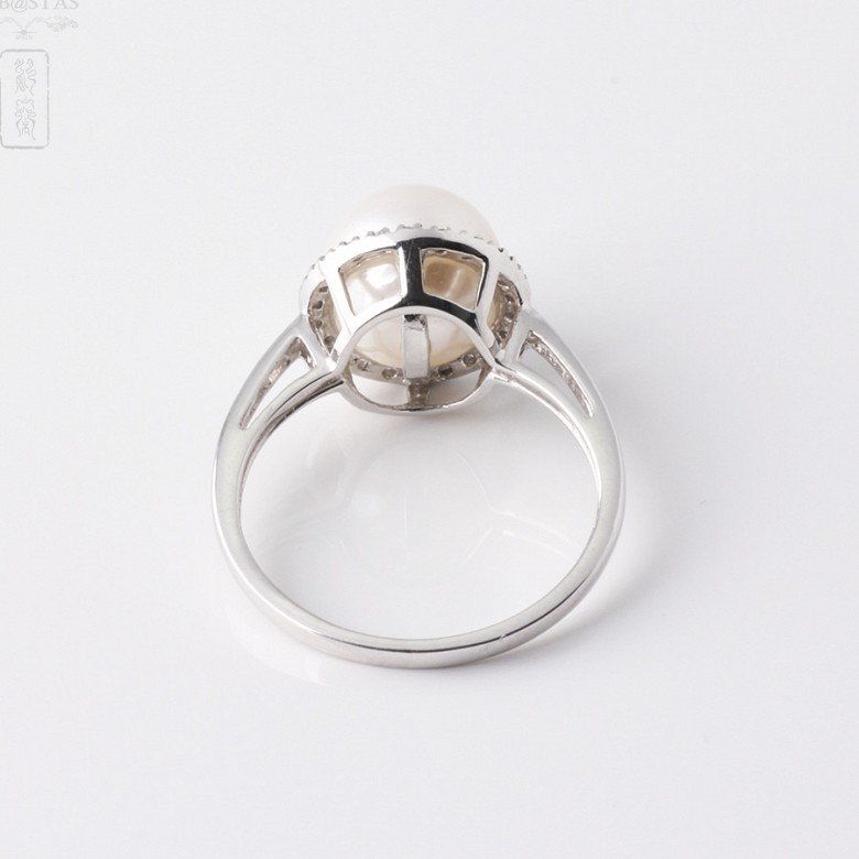 Ring  with pearl and diamonds in 18k white gold - 2
