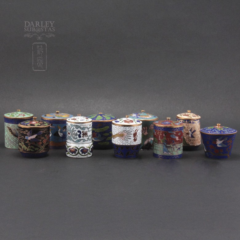Set of 10 jars with lids Chinese cloisonne - 4
