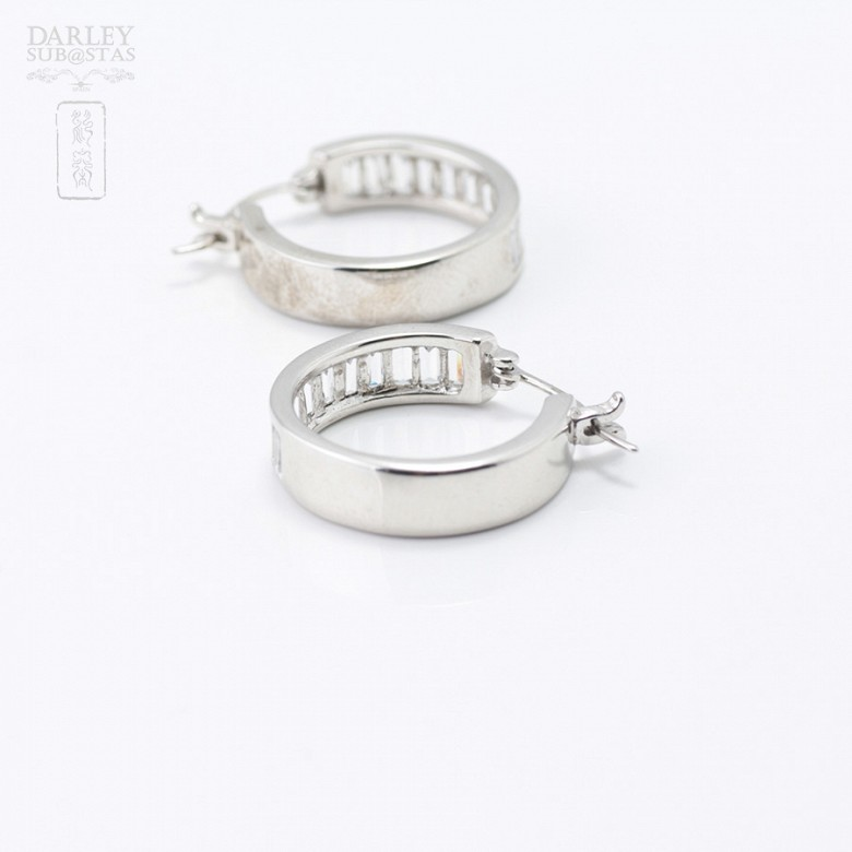 Pair of earrings in silver and rhodium with zirconia - 1