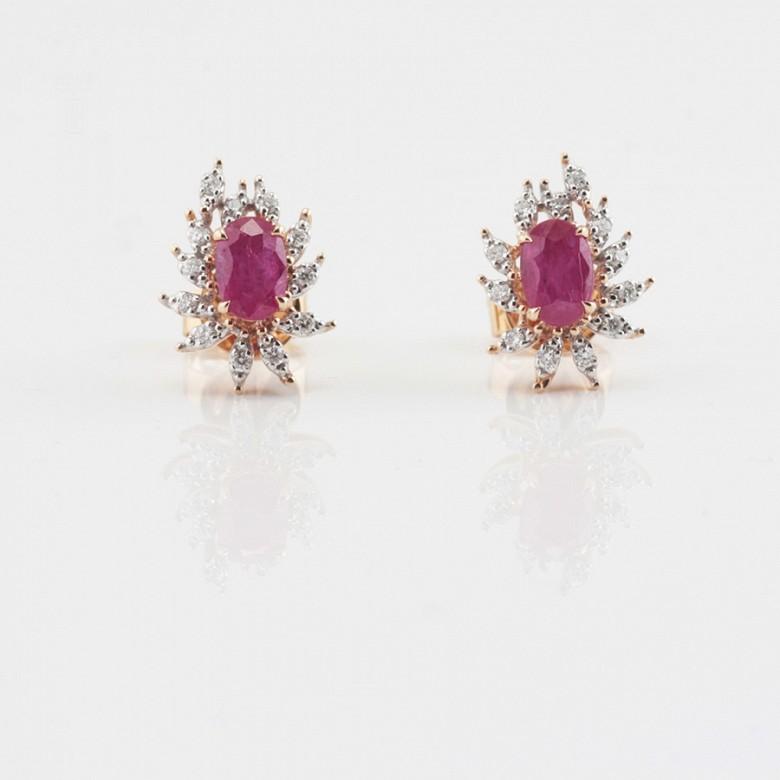 18k rose gold earrings, ruby and diamondss - 3