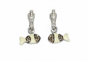 Pendientes en oro blanco de 18k con diamantes y esmaltes