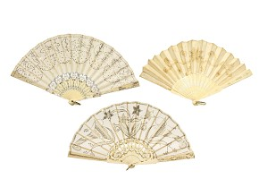 Lot of three fans of carved bone linkage, 19th century