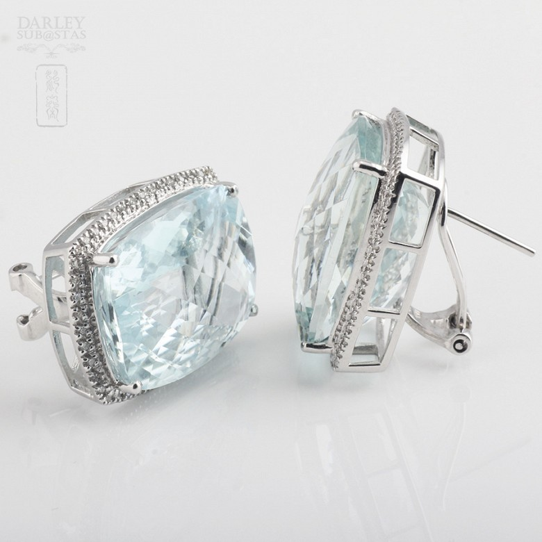 earrings with aquamarine 36.29cts and diamond in white gold - 1