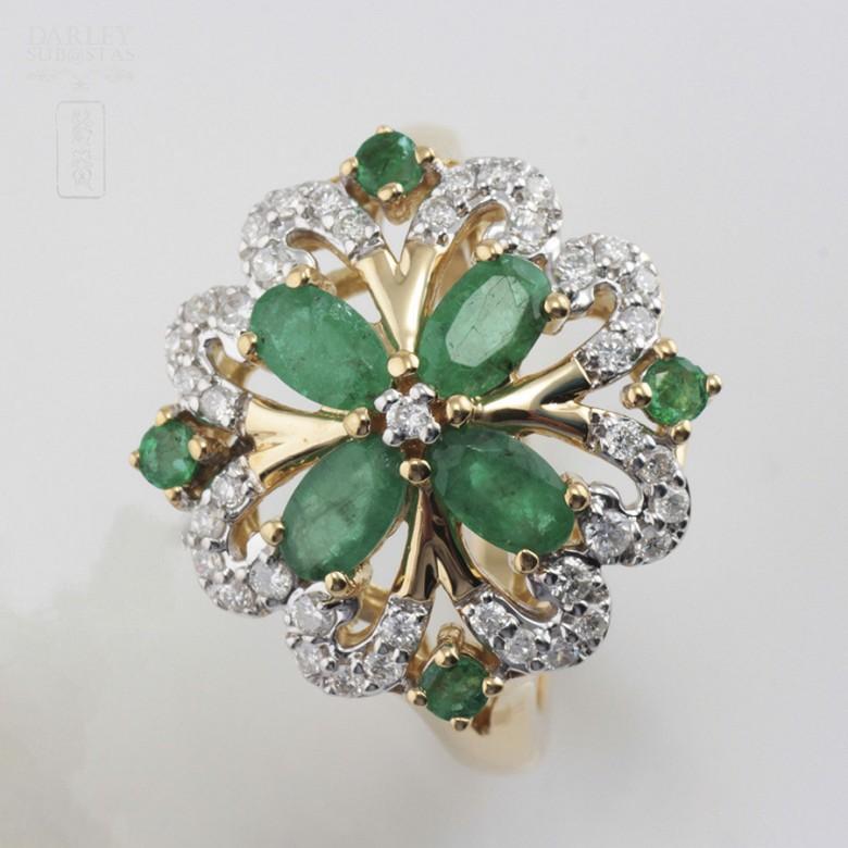 Fantástico anillo Esmeraldas y Diamantes - 3