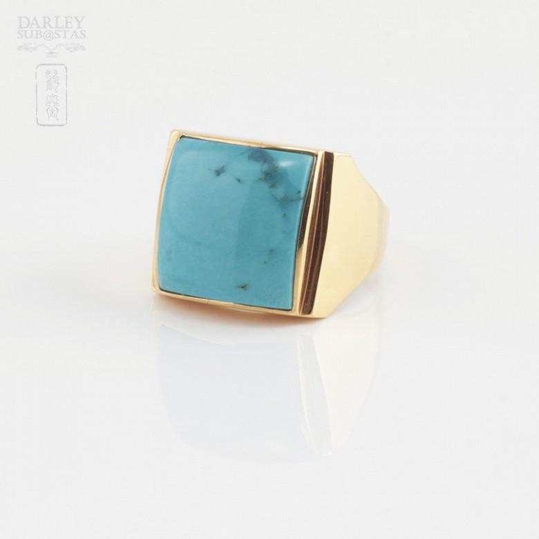 绿松石配18K黄金戒指 - 1