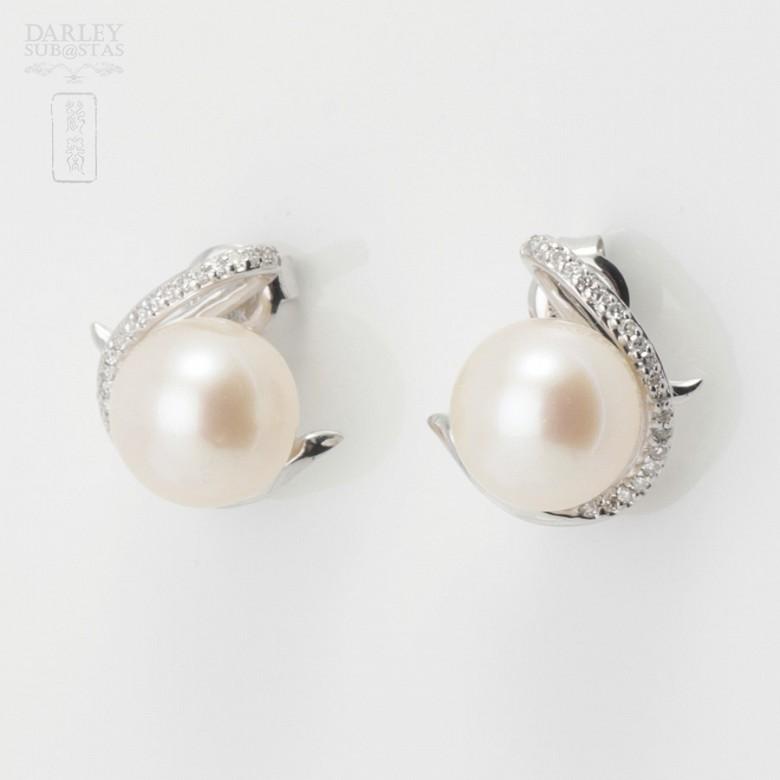 18K白金镶钻石配白珍珠耳环