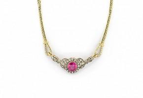 Gargantilla en oro amarillo de 18k de rubí y diamantes