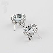 earrings with 7.24cts Aquamarine and diamond 18k - 1