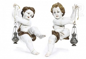 Pair of Algora porcelain angels, 20th century