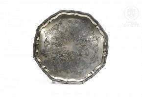 English silver plated metal tray, Sheffield, 1895.