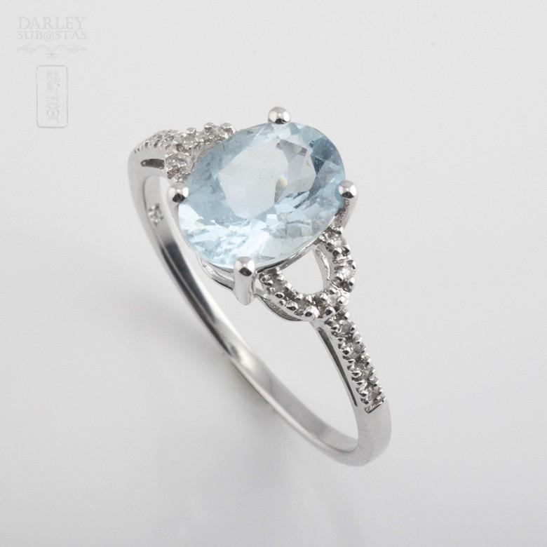 1.60克拉海蓝宝石配钻石18K白金戒指 - 3