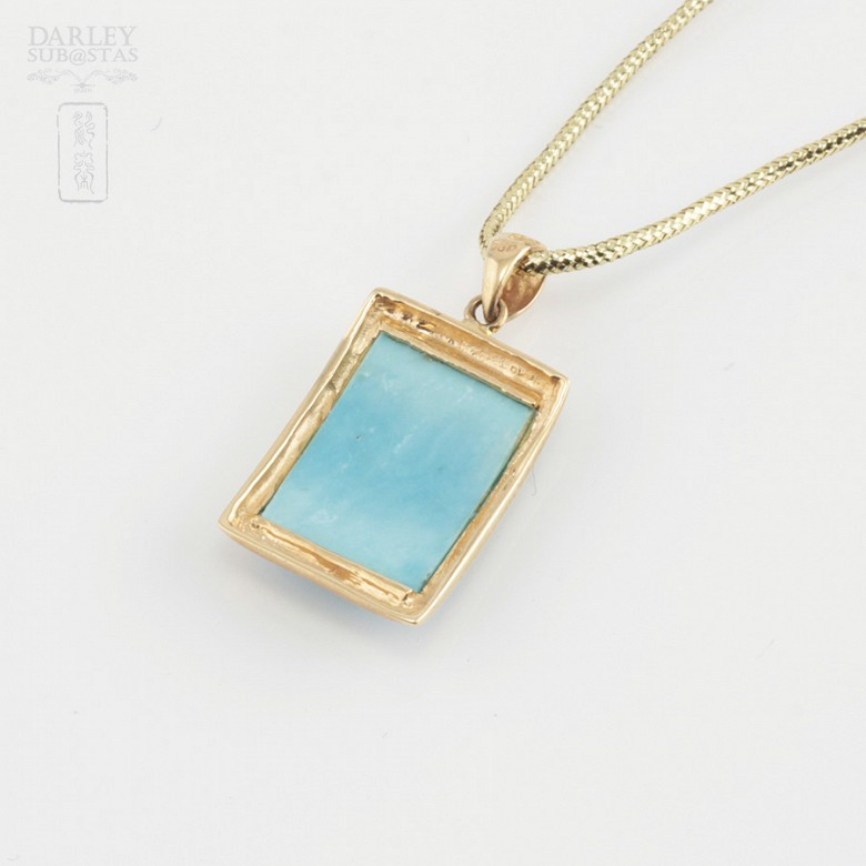 Pendant in 18k yellow gold and natural turquoise - 3