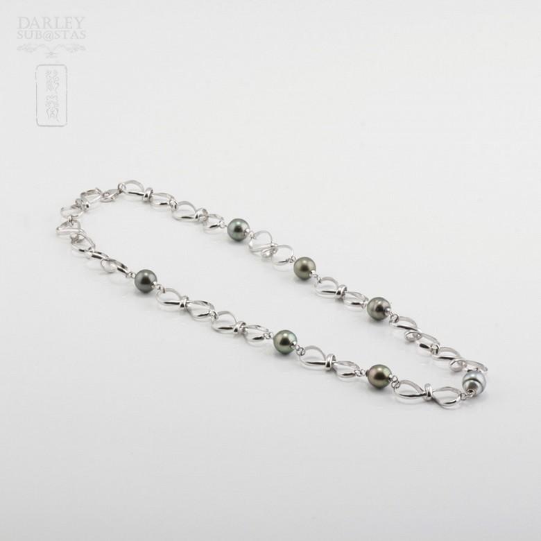 Collar perlas naturales de Tahití en plata de ley, 925 - 2