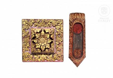Dos objetos decorativos de madera, Indonesia, s.XX