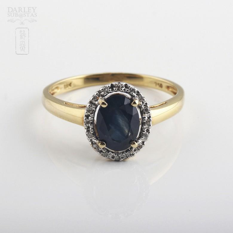 1.61克拉天然蓝宝石配钻石18K黄金戒指 - 3