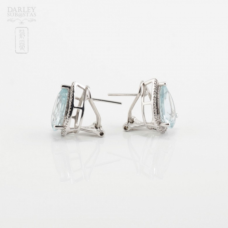 Earrings with aquamarine 4.81cts and diamonds in White Gold - 2