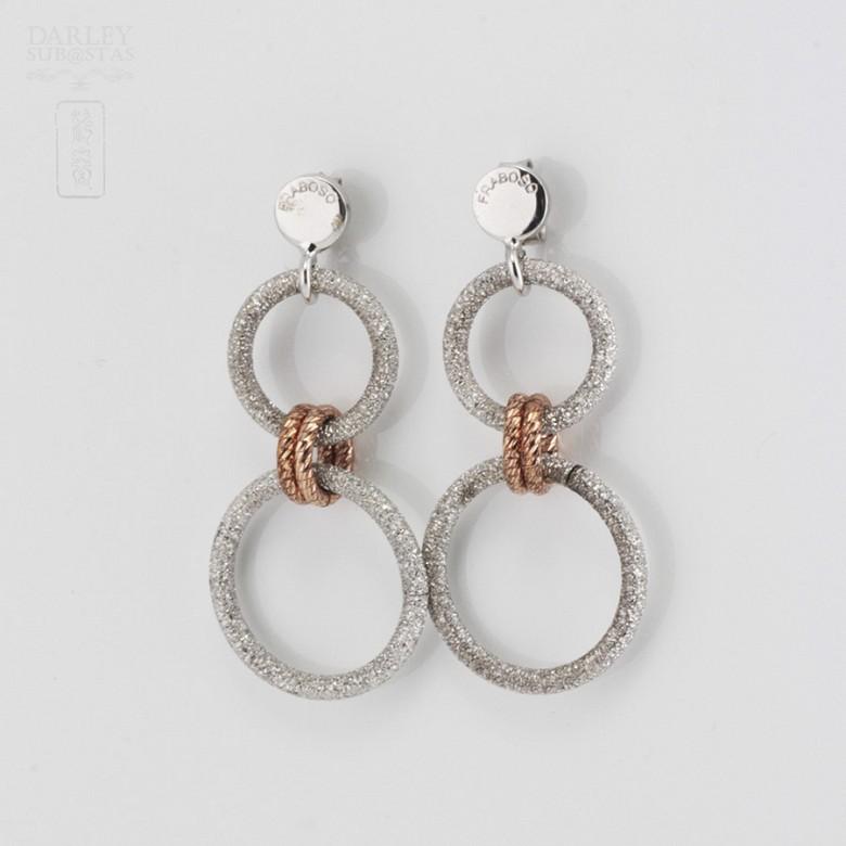 925雙色銀耳环