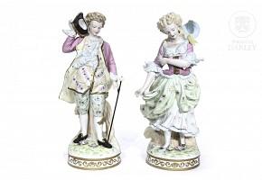 Pair of European porcelain figurines, 20th century