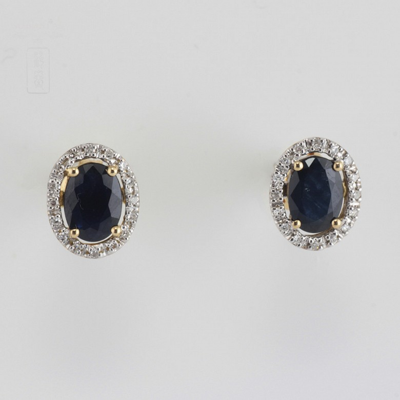 Bonitos pendientes zafiro y diamantes - 5
