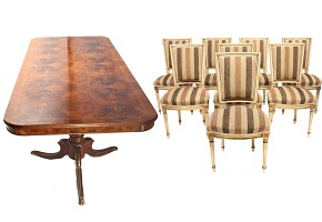 Dining table with root marquetry and eight chairs, 20th century