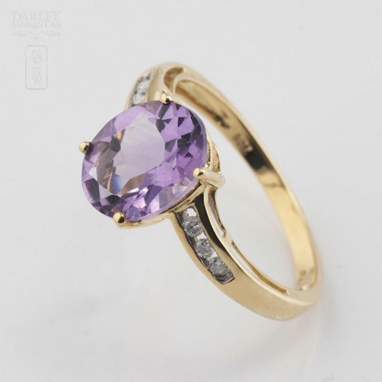 18k白金镶紫晶配钻石戒指