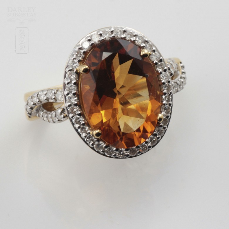 0.65cts fantastic ring with diamonds and 18k yellow gold citrine - 1