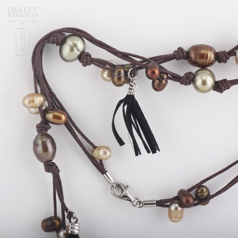 long necklace with pearls and fringes in sterling silver, 925 - 1