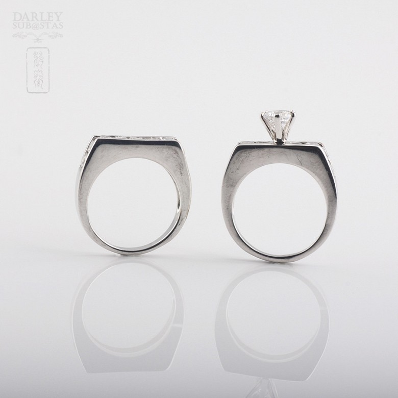925银配锆石镀白金戒指 - 3
