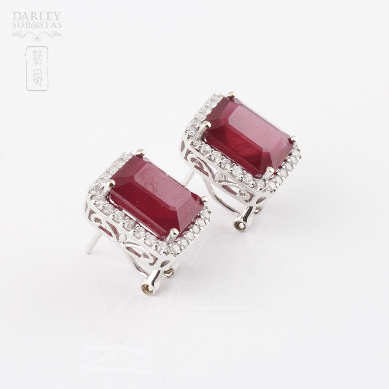 earrings with ruby 14.13cts and diamond 18k - 2