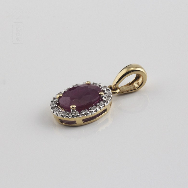 pendant with  ruby 0.95cts and diamond  in yellow gold - 2