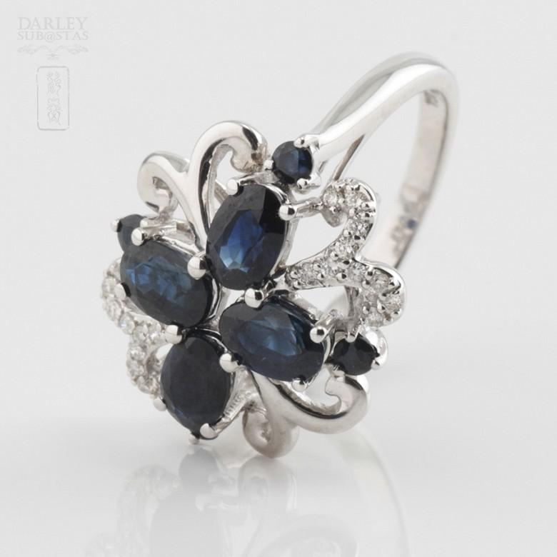 Fantástico anillo zafiro y diamantes - 1