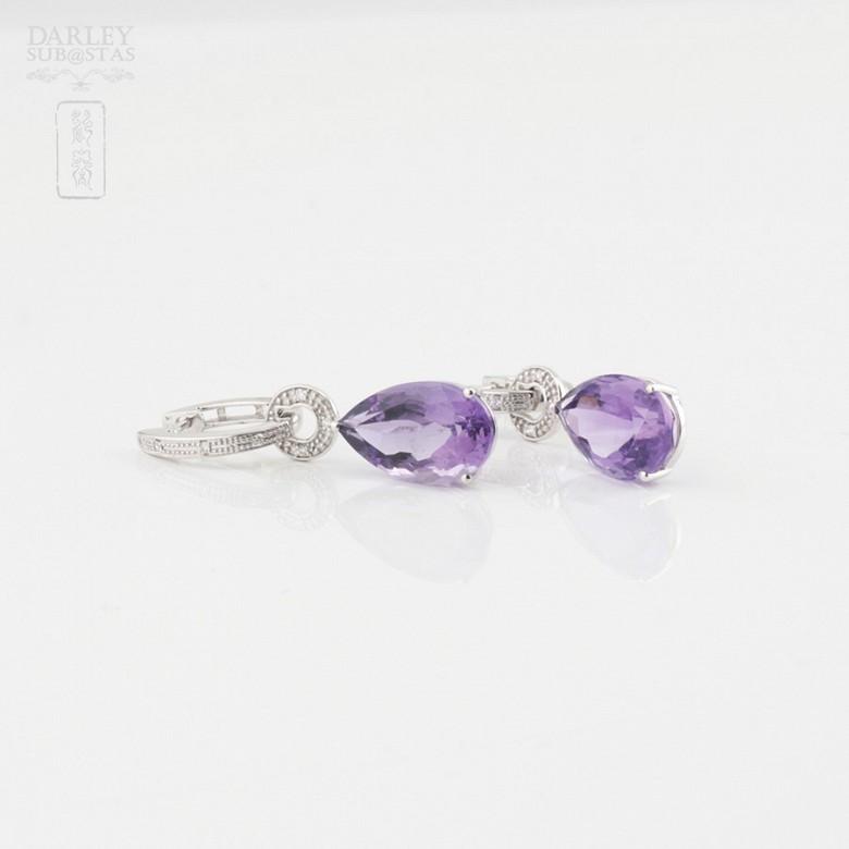 Amethyst and diamond earrings detachable - 2
