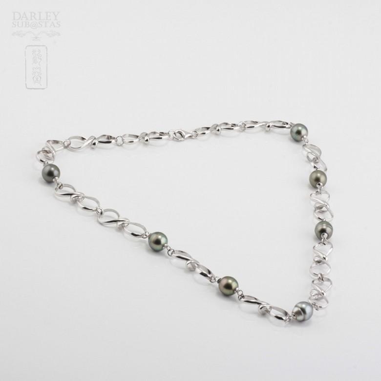 Collar perlas naturales de Tahití en plata de ley, 925 - 1