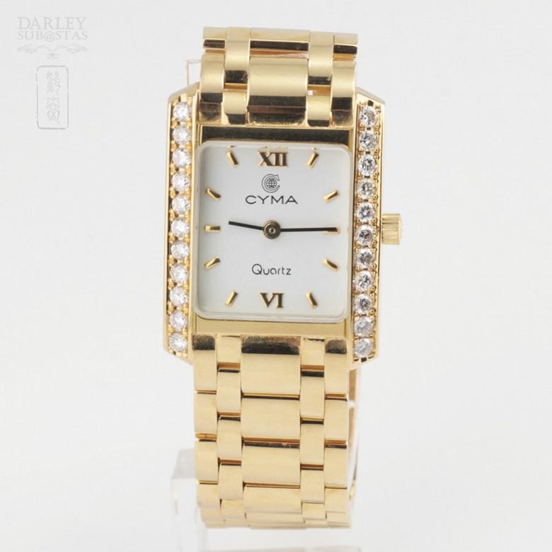 Precious gold and diamond watch Cyma