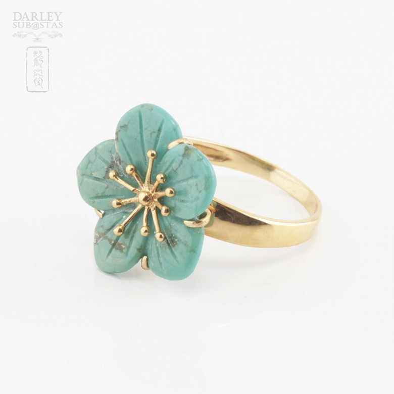 18k yellow gold and natural turquoise ring - 1