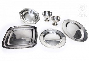 Lot of six pieces Christofle Paris silver plated metal, 20th century
