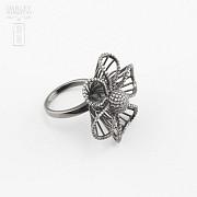 Fantástico anillo en plata ley con rodio negro - 2