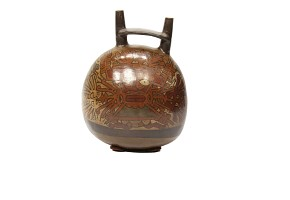 Double mouth jug decorated with images of deities