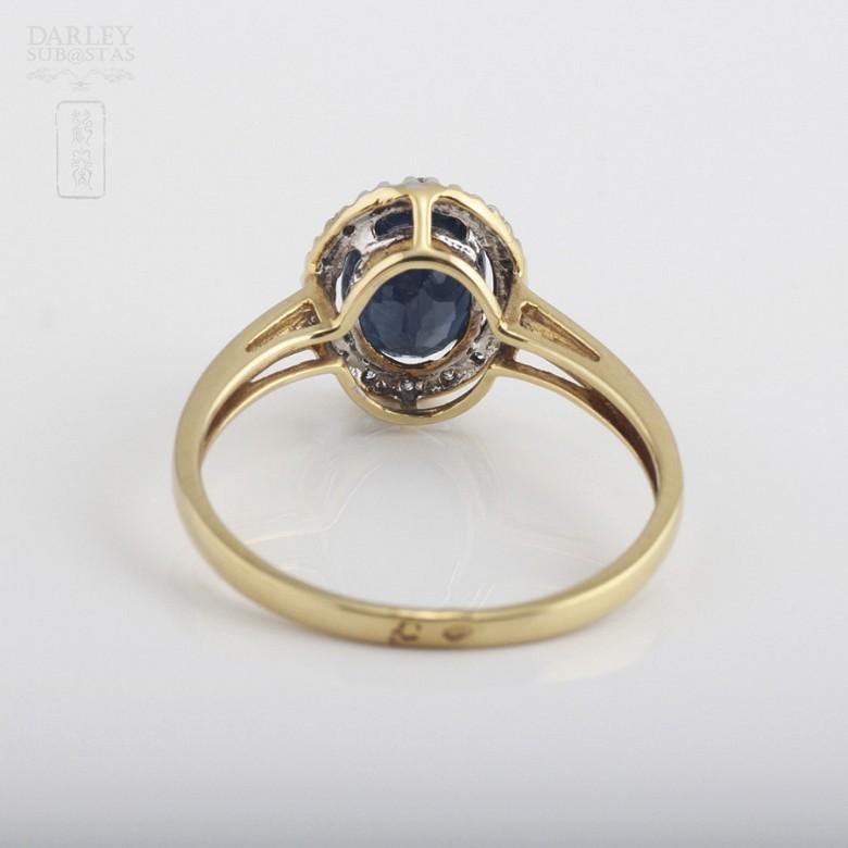 1.61克拉天然蓝宝石配钻石18K黄金戒指 - 2