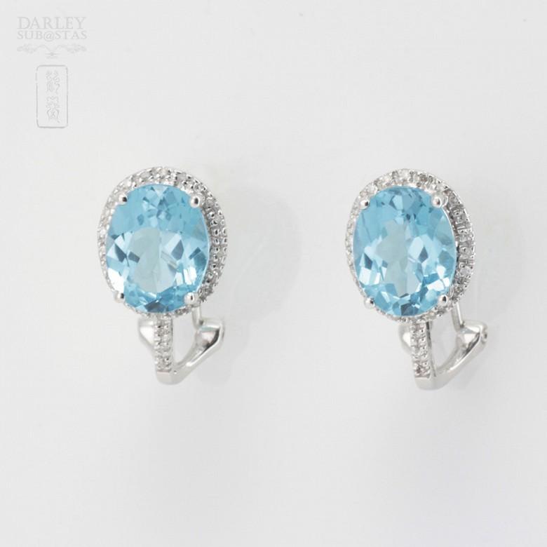 18K白金镶钻石配蓝晶耳环