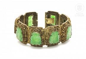 Pulsera de plata con jade.