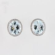 earrings with 7.24cts Aquamarine and diamond 18k - 3