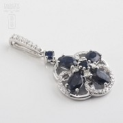 Pendant  sapphire2 .85cts and diamond  in white gold - 3