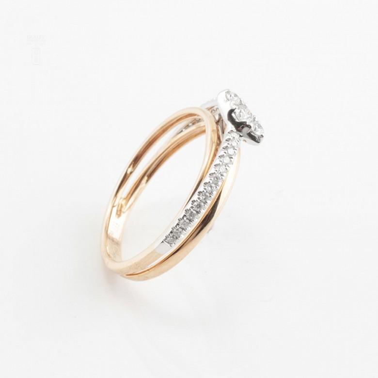 Precioso anillo oro rosa 18k y diamantes - 1