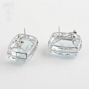 earrings with aquamarine 36.29cts and diamond in white gold - 2