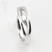 Solitaire ring-18k White Gold and Diamond 0.16cts - 3