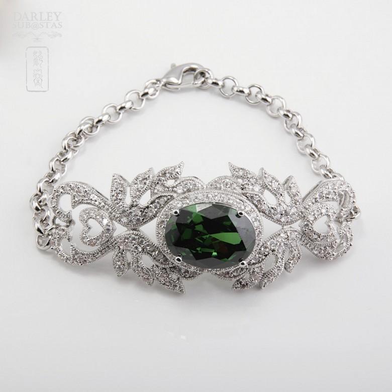Aderezo de Fallera verde Esmeralda y plata Rodiado - 4